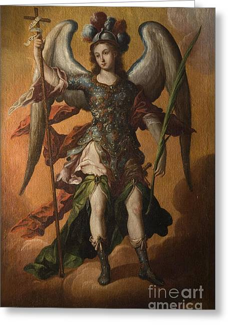 Anonymous Paintings Greeting Cards - Saint Michael the Archangel Greeting Card by Celestial Images