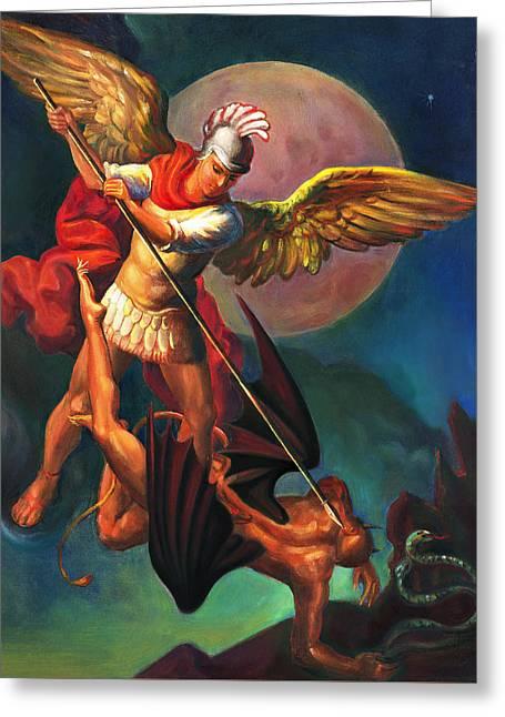 Biblical Art Greeting Cards - Saint Michael the Warrior Archangel Greeting Card by Svitozar Nenyuk