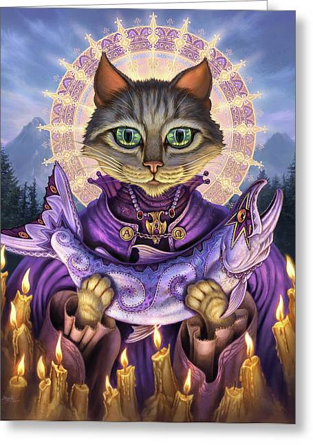 Feline Fantasy Greeting Cards - Saint of Salmons Greeting Card by Jeff Haynie