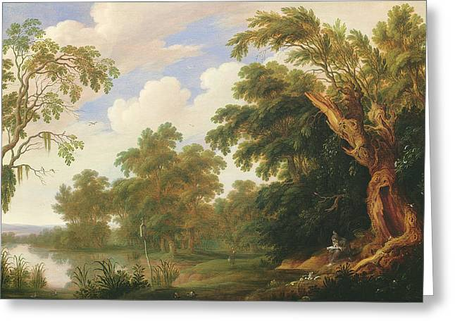 Saint Paul Visiting Saint Anthony In A Wooded Landscape Greeting Card by Alexander Keirincx