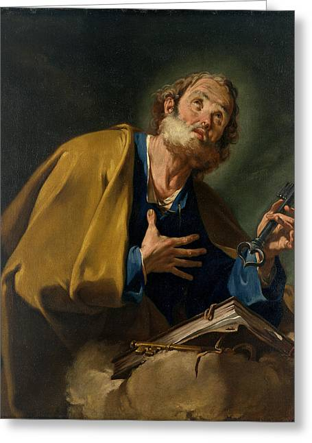 Saint Peter Greeting Card by Giovanni Battista Pittoni
