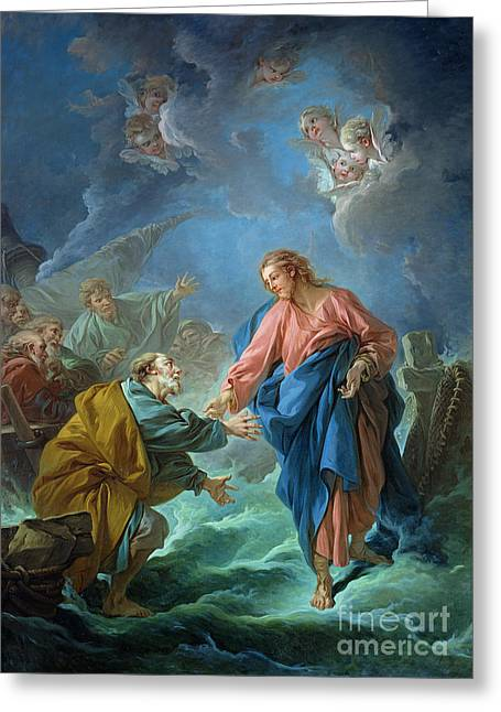 Religious Greeting Cards - Saint Peter Invited to Walk on the Water Greeting Card by Francois Boucher