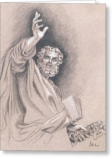 Religious Drawings Greeting Cards - Saint Peter Greeting Card by Joe Winkler