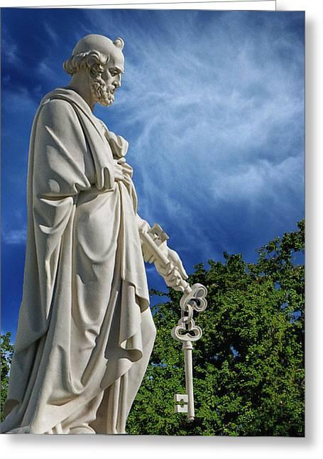Headstones Greeting Cards - Saint Peter with Keys to Heaven Greeting Card by Peter Piatt