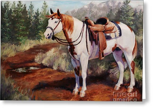 Horse Greeting Cards - Saint Quincy Paint Horse Portrait Painting Greeting Card by Kim Corpany