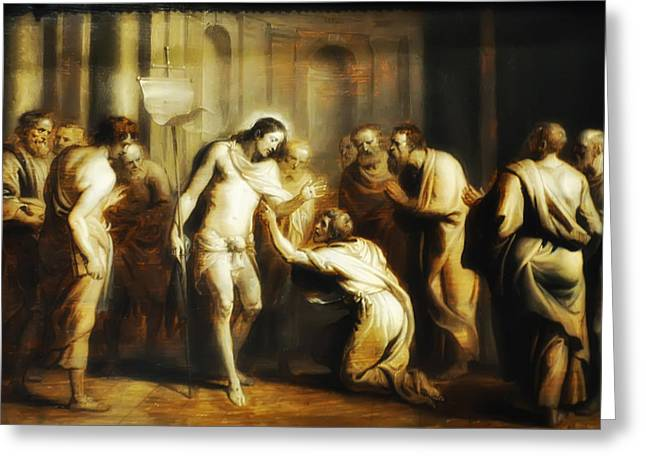 Saint Thomas Touching Christ's Wounds Greeting Card by Bill Cannon