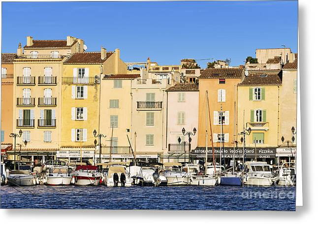 Saint-tropez Waterfront Greeting Card by John Greim
