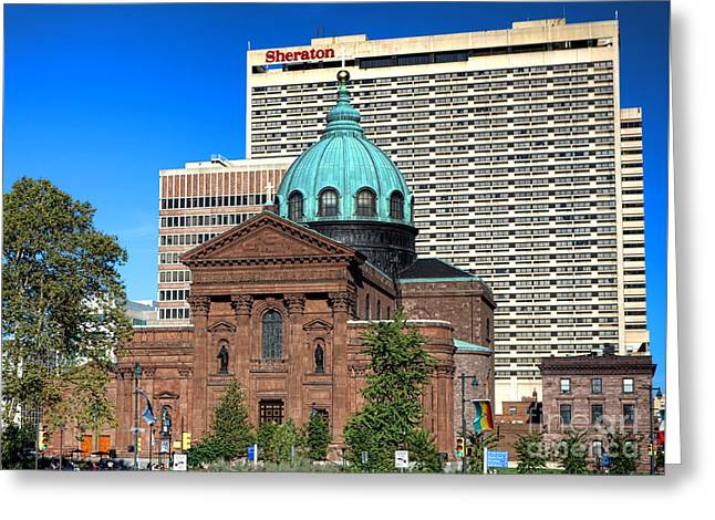 Saints Peter And Paul And Sheraton Hotel In Philadelphia  Greeting Card by Olivier Le Queinec