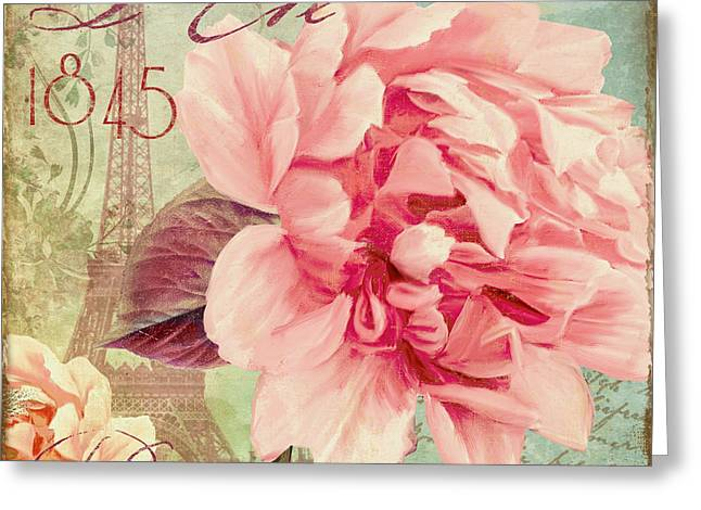 Pink Blossoms Greeting Cards - Saisons Fleurs Pink Greeting Card by Mindy Sommers