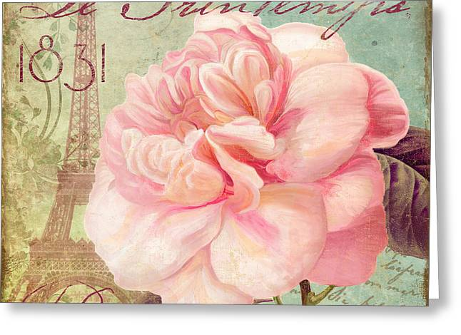 Pink Blossoms Greeting Cards - Saisons Pink Peony Rose Greeting Card by Mindy Sommers