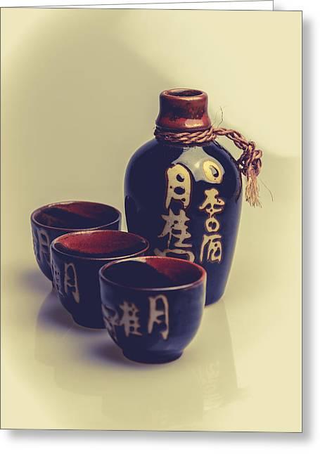 Sake Bottle Greeting Cards - Sake Greeting Card by A Souppes