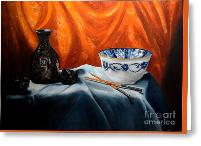 Sake And Orange Silk Greeting Card by Mary Datum