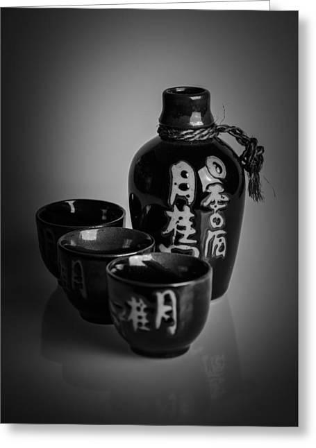 Sake Bottle Greeting Cards - Sake Set Greeting Card by A Souppes
