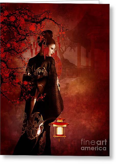 Kyoto Digital Greeting Cards - Sakura Red Greeting Card by Shanina Conway