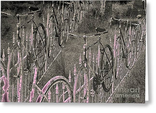 Double Bicycle Greeting Cards - Salado / Bicycles on the Fence 2 Greeting Card by Elizabeth McTaggart