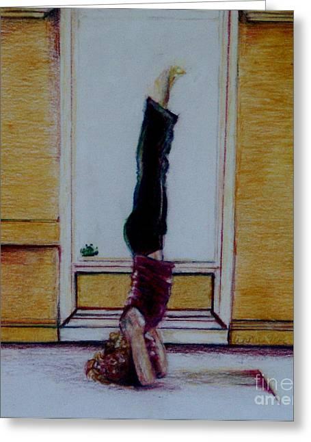 Yoga Drawings Greeting Cards - Salamba Sirasana Greeting Card by Anna Mize Bell