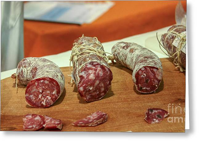 Sec Greeting Cards - Salami Sausages Greeting Card by Patricia Hofmeester