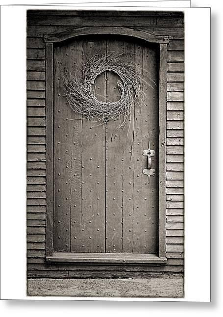 Trial Greeting Cards - Salem Door Greeting Card by Stephen Stookey