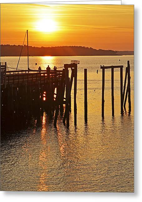 Fishing Boats Greeting Cards - Salem MA fishing at sunrise sunny Greeting Card by Toby McGuire