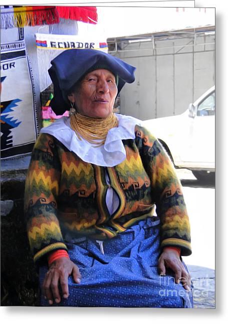 Purchase Greeting Cards - Saleslady At San Francisco Square - Cuenca Ecuador Greeting Card by Al Bourassa