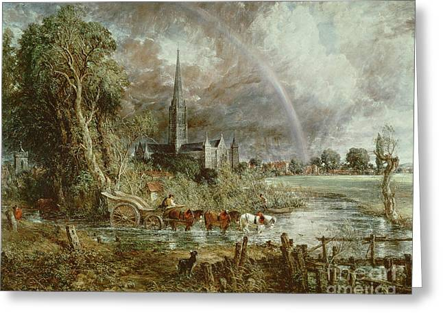 Seen Greeting Cards - Salisbury Cathedral From the Meadows Greeting Card by John Constable
