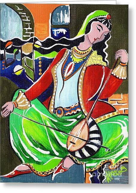 Elisabeta Hermann Greeting Cards - Sallaneh and Its Player Greeting Card by Elisabeta Hermann