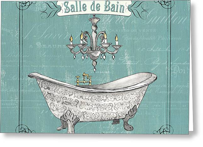 Chandelier Greeting Cards - Salle de Bain Greeting Card by Debbie DeWitt