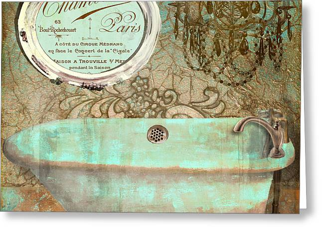 Bathroom Prints Paintings Greeting Cards - Salle de Bain I Greeting Card by Mindy Sommers