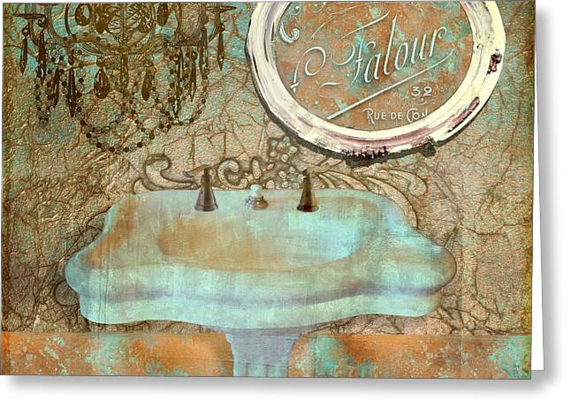 Bathroom Prints Paintings Greeting Cards - Salle de Bain II Greeting Card by Mindy Sommers