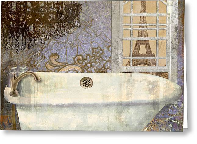 Bathroom Prints Paintings Greeting Cards - Salle de Bain III Greeting Card by Mindy Sommers