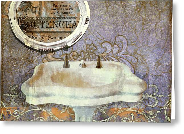 Bathroom Prints Paintings Greeting Cards - Salle de Bain IV Greeting Card by Mindy Sommers
