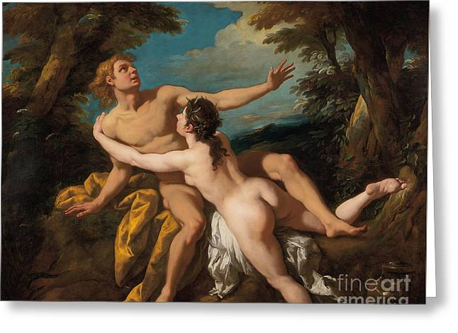 Salmacis And Hermaphroditus Greeting Card by Jean Francois de Troy