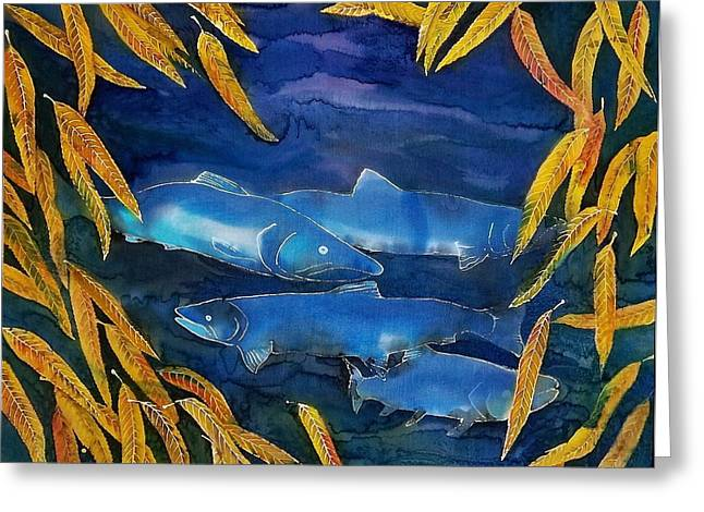 Golds Tapestries - Textiles Greeting Cards - Salmon and Willow Greeting Card by Carolyn Doe