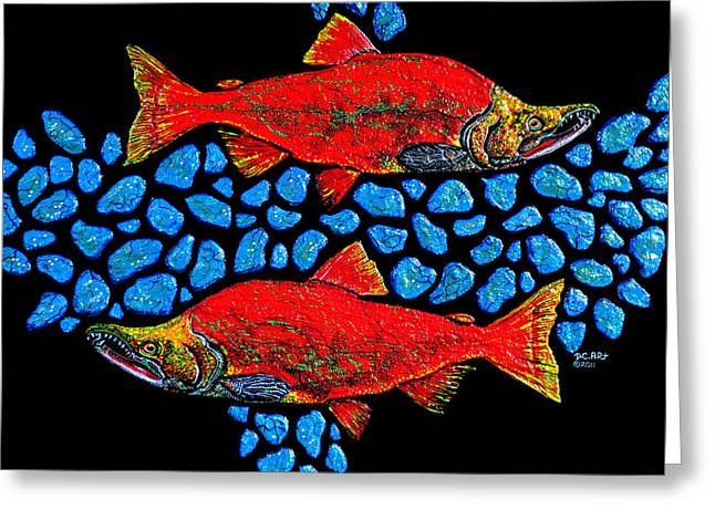 Salmon Paintings Greeting Cards - Salmon Greeting Card by Debbie Chamberlin