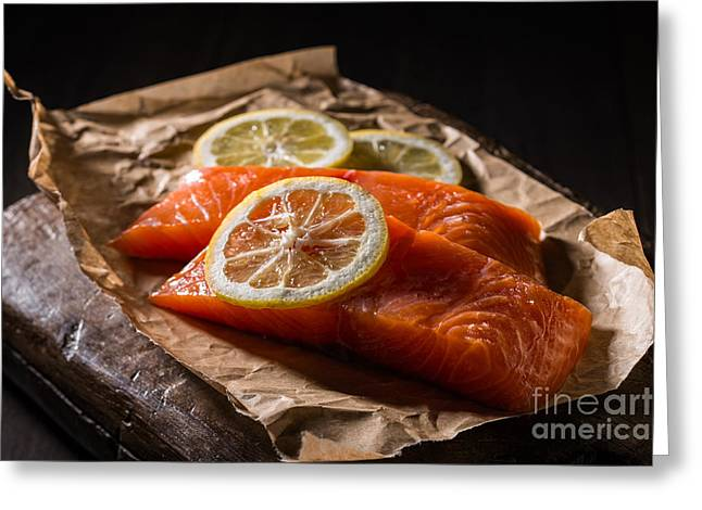 Salmon Photographs Greeting Cards - Salmon Fillets Greeting Card by Amanda And Christopher Elwell