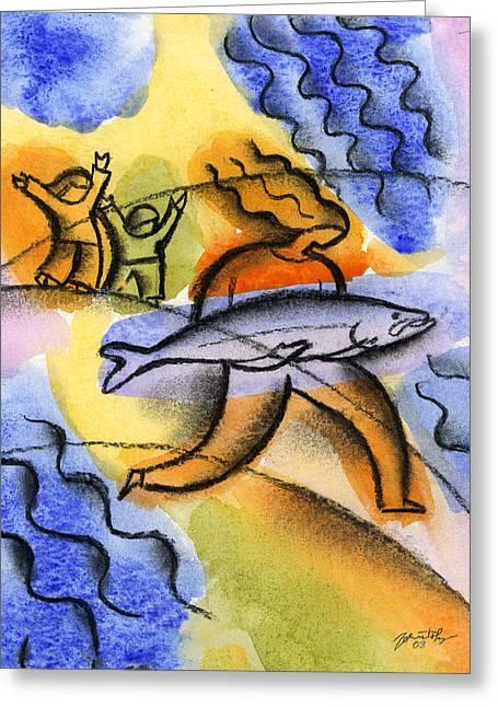 Salmon Fishing Greeting Card by Leon Zernitsky