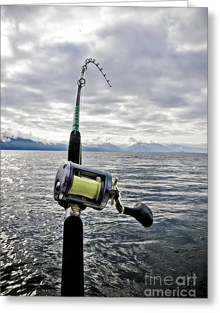 Fishing Rod Greeting Cards - Salmon Fishing Rod Greeting Card by Darcy Michaelchuk