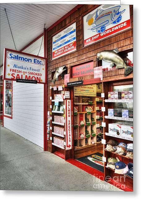 Salmon In Ketchikan Greeting Card by Mel Steinhauer