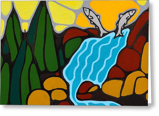 Coho Paintings Greeting Cards - Salmon Run Greeting Card by Ken Dawes