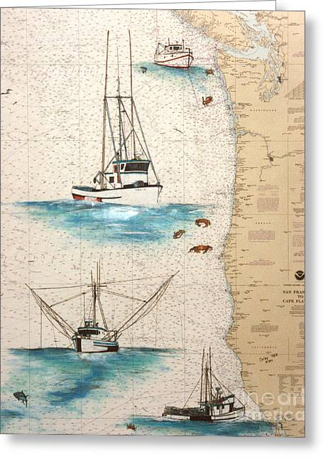Salmon Paintings Greeting Cards - Salmon Trollers Crab Boats Tuna Nautical Chart Art Greeting Card by Cathy Peek
