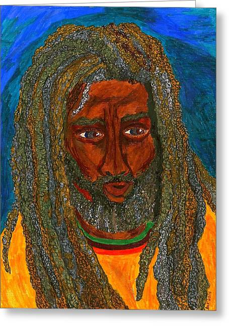 African American Men Drawings Greeting Cards - Salomao Greeting Card by Stacey Torres