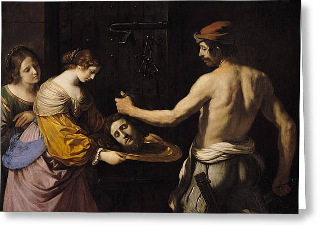 Executioner Greeting Cards - Salome Receiving the Head of St John the Baptist Greeting Card by Giovanni Francesco Barbieri