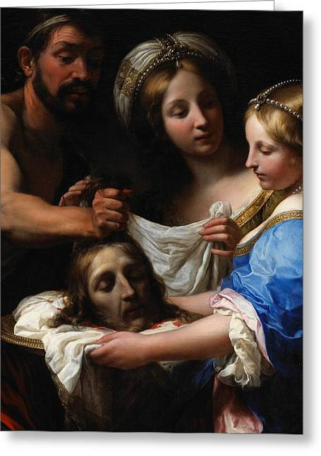 Woman Head Greeting Cards - Salome with the Head of Saint John the Baptist Greeting Card by Onorio Marinari