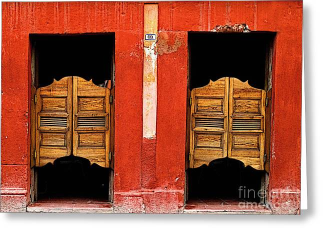 Bar San Miguel Greeting Cards - Saloon Door 2 Greeting Card by Olden Mexico