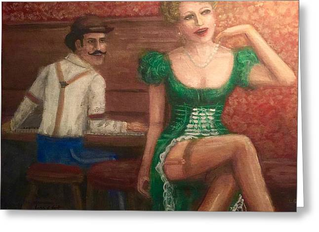 Lounge Paintings Greeting Cards - Saloon Entertainers  Greeting Card by Larry E Lamb