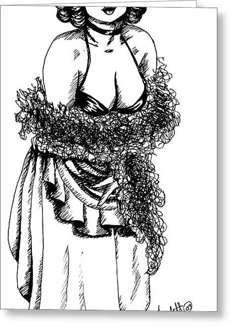 Saloons Drawings Greeting Cards - Saloon Girl Greeting Card by Scarlett Royal