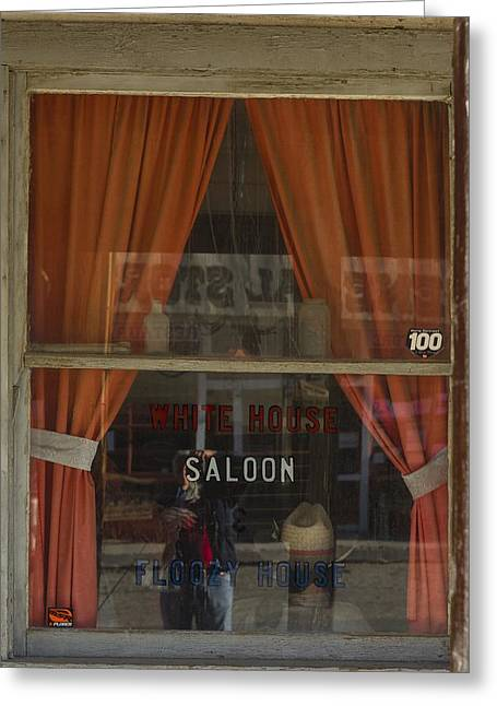 Self-portrait Photographs Greeting Cards - Saloon Window Selfie Greeting Card by Roland Peachie