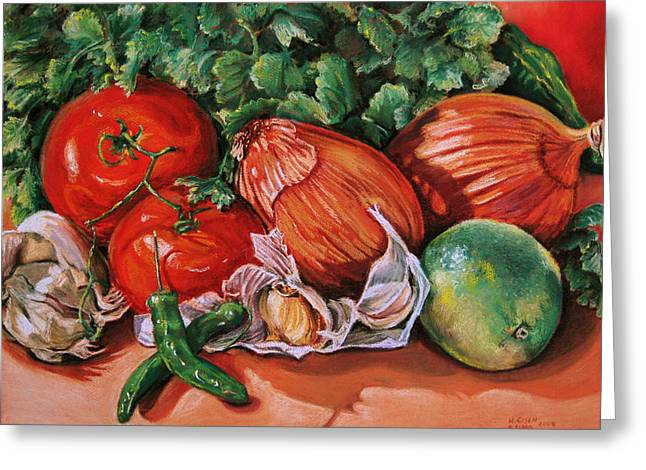 Tomato Pastels Greeting Cards - Salsa Greeting Card by Outre Art  Natalie Eisen