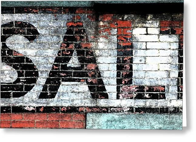 Primitive Mixed Media Greeting Cards - Industrial Brick Wall Vintage Advertising Sign SALT Greeting Card by ArtyZen Studios - ArtyZen Home