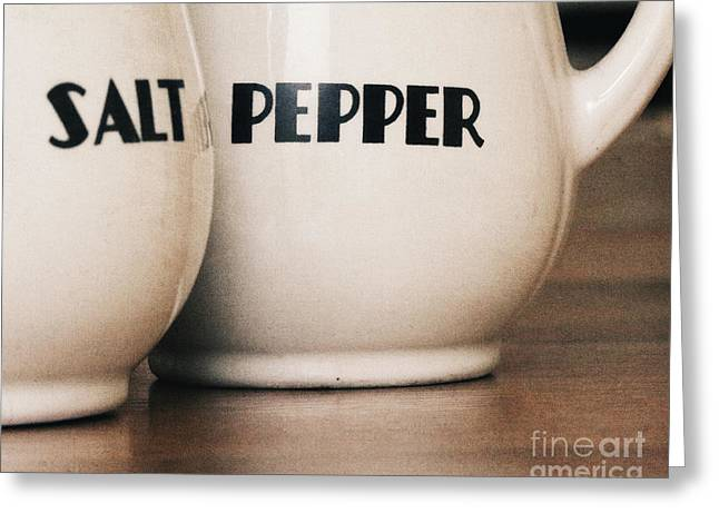 Salt And Pepper Greeting Card by Alison Sherrow